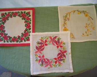 Vintage Linen Doilies, Stamped Cotton and Cross Stitch from Sweden, 3 Pieces, Last Call, Final Markdown