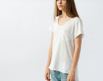Womens plain tshirt with pocket, long white cotton womens tshirt, shortsleeve boyfriend fit tshirt