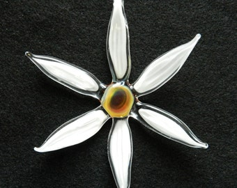 Colorful Hand Sculpted Glass Flower Ornament, Daisy