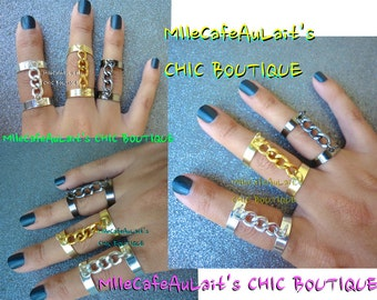 Chain Link Double Connector Midi Rings- TROIS ANNEAUX  (Three Rings)