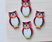 Red Owl Buttons - Wooden Painted Set of 4 - Lot 133