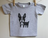 Kids boston terrier t-shirt. 2T, 3T, 4T.