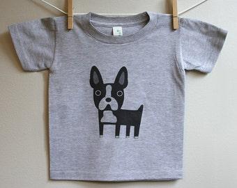 Kids boston terrier t-shirt, boston terrier tee, boston terrier t-shirt sizes 2T, 3T, 4T.
