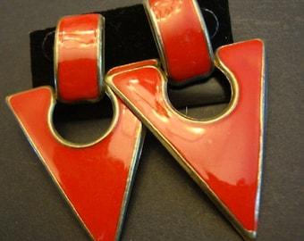 1960's 1970's Vintage Metal Earrings Triangles Retro Jewelry Post Earrings Red Earrings Lipstick Red 106