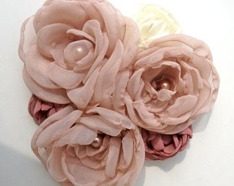 Dusty Rose Fabric Flower Bridal Sash Pin or Corsage