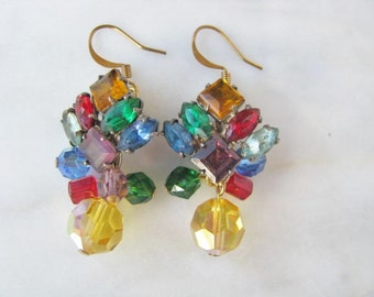 Rhinestone Earrings One Of A Kind Multi Color Red Blue Yellow Statement Crystal Drop Confetti Earrings