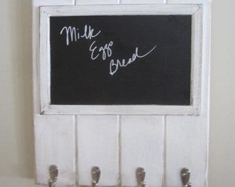 Chalkboard Wall key holder Coat rack hooks entry hall foyer mudroom Whitewash Memo board Whitewashed