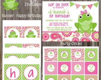 PAISLEY FROG Pink & Green Birthday Party Package - Girl DIY Printable