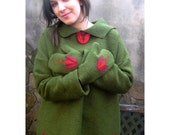 Green oversized poncho style hoody , sweater with tulips