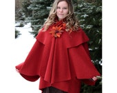 Elegant rusty red, boucle woolen  lapelcoat   with charming badge of felt flowers
