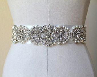 Bridal beaded vintage style crystal pearl sash.  Embellished rhinestone applique wedding belt.  DUCHESS CRYSTAL