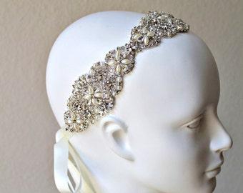 Bridal Crystal Headpiece.  Pearl Rhinestone Wedding Headband. Bridal Tiara. Ivory Hair Piece. DOLCE VITA