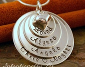 Hand Stamped Mommy Jewelry - Personalized Layered Sterling Silver Necklace - Loved Domed Family Stack of Four