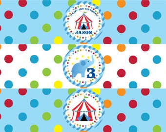 Circus Water Bottle Labels in Blue
