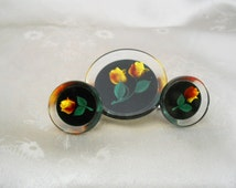 Vintage Lucite Jewelry Set - 50s Screwback Earrings _ Carved Lucite Brooch - 1950s Pin & Earrings