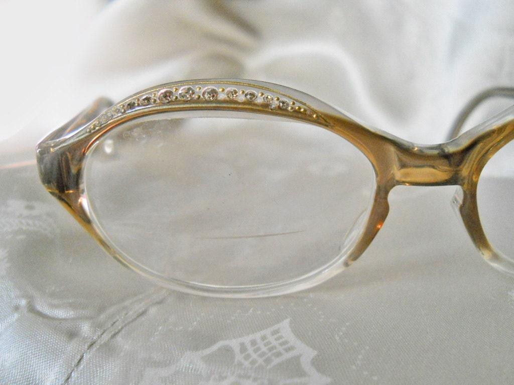 vintage rhinestone eyeglass frames 60s eye glasses 1960s