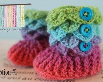 Crocodile Stitch Booties - Crochet Baby Booties - CUSTOM OPTIONS AVAILABLE