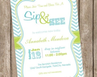 Sip and See Baby Shower Invitation Green and Blue Chevron printable invitation 20121228-K1-1E