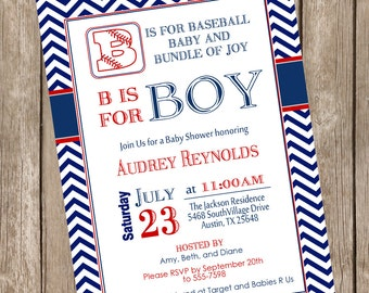 Boy Baseball baby shower invitation, red, navy, chevron, vintage, typography, baseball, printable invitation