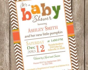 Fall Little Pumpkin baby shower invitation, orange, brown, green, autumn baby shower invitation, typography, printable invitation