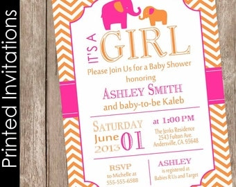 Hot pink and orange baby shower invitation elephant baby shower invitation baby girl baby shower invitation chevron invite(FREE ENVELOPES)