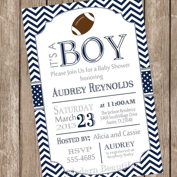 chevron football baby shower invitation football navy grey blue