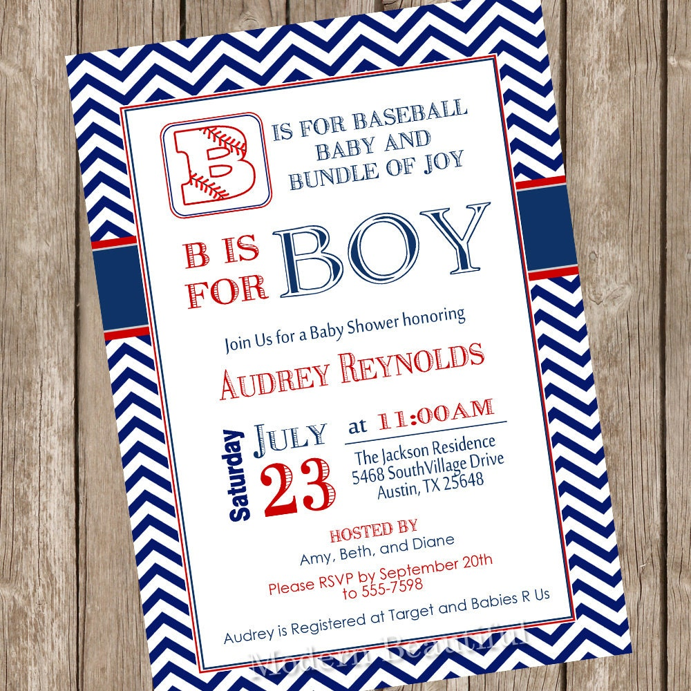 Boy Baseball Baby Shower Invitation Red Navy Chevron