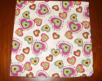 Sale...6 Luncheon Napkins...14 inches...Hearts and Laughs...Stitched Hems Not Serged...FREE SHIPPING