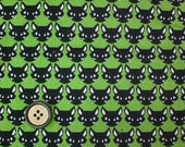1M Japanese cotton fabric Cat printed one yard green colour