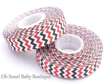"Red White and Black Chevron 7/8"" Grosgrain Ribbon"
