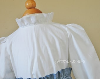 Girl's White Ruffle Neck Long Sleeve Button Up Blouse by Papoose Clothing