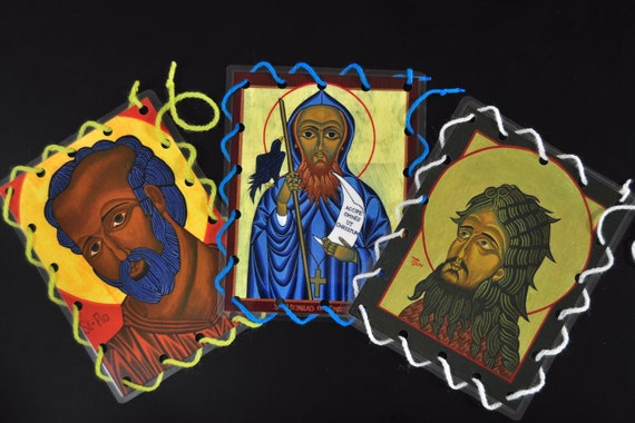Catholic Icon Lacing Cards for Boys- Religious Quiet Toy for Church (Set 3) - Boy Saints