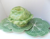 Vintage Cabbage Head Bowl Tureen with Leaf Plates Set