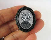 victorian style anthropomorphic animal brooch - small -boy cat