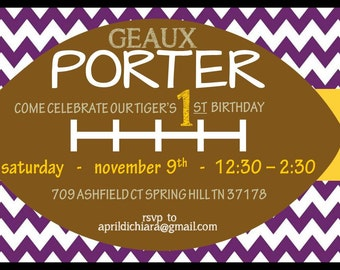 LSU Birthday Invitation Bold 5x7 Digital File - Print Package Available