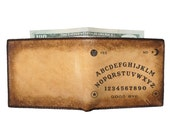 Mens Leather Wallet - Personalized Wallet - Monogrammed Wallet - Ouija Board