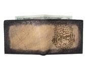 Bi Fold Leather Wallet - Hufflepuff - Customizable - Free Personalization