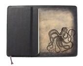 Moleskine Leather Notebook Cover [Large & Pocket Sizes][Customizable][Free Personalization] - Octopus