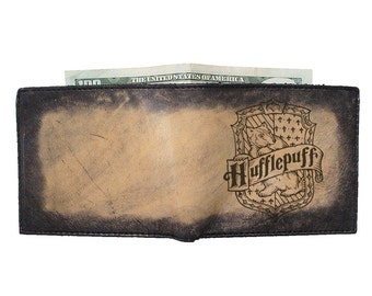 Mens Leather Wallet - Harry Potter Hufflepuff - Groomsmen Gift - Free Personalization