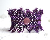 Purple Tatting Lace Beaed Cuff Fiber Bracelet
