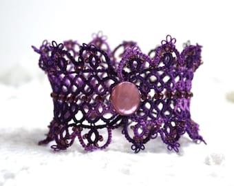 Purple Tatting Lace Beaded Cuff Fiber Bracelet