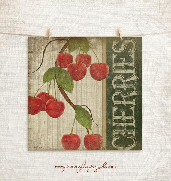 Items Similar To Vintage Cherries 12x12 Art Print -Kitchen