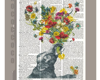 HAPPY Baby Elephant  - Happy  Mothers day - ORIGINAL ARTWORK  printed on repurposed vintage Dictionary page -Upcycled book Print