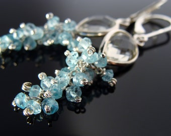 Green Amethyst and Apatite Leverback Sterling Silver Earrings