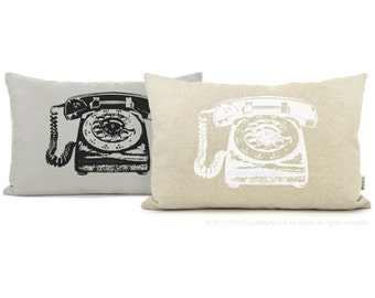 Personalized Rotary Phone Decorative Pillow Case | Pick your Ink Color, Fabric, 16x16 or 12x18 inches | Vintage 60s inspired Cushion Cover