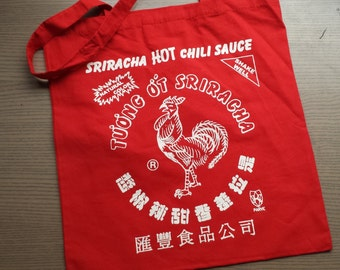Sriracha Tote Bag Red Hot Chili Rooster Sauce Bag 100% Cotton