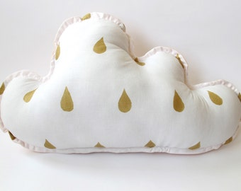 Cloud Pillow - Nursery Decor - Raindrops in Gold - Pale Pink Backing - Other Colors Available