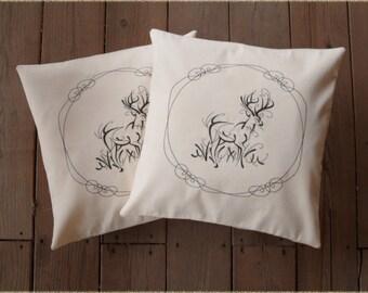 "Deer Decorative Pillow covers "" The Buck "" 16x16 inch decorative wildlife pillow sham (set of 2)"