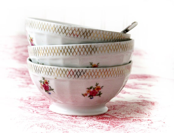 set of 3  french  cafe au lait bowl ,country flowers, fine porcelain