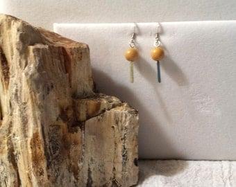 Pierced Yellow Jade Earrings
